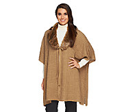 Dennis Basso Petite Sweater Poncho with Faux Fur - A259810