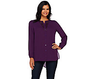 Susan Graver Artisan Feather Weave Fabric Shirt w/ Embellishment - A269310
