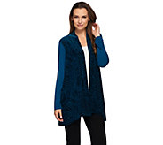 Susan Graver Liquid Knit Cardigan with Burnout Velvet Panels - A270310
