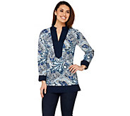 C. Wonder Paisley Foulard Print Long Sleeve Tunic w/ Solid Trim - A275110