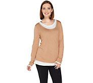 Kelly by Clinton Kelly Jersey Knit Faux Layered Tee - A283410