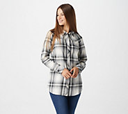 Denim & Co. Plaid Long Sleeve Button Front Collared Shirt - A296210