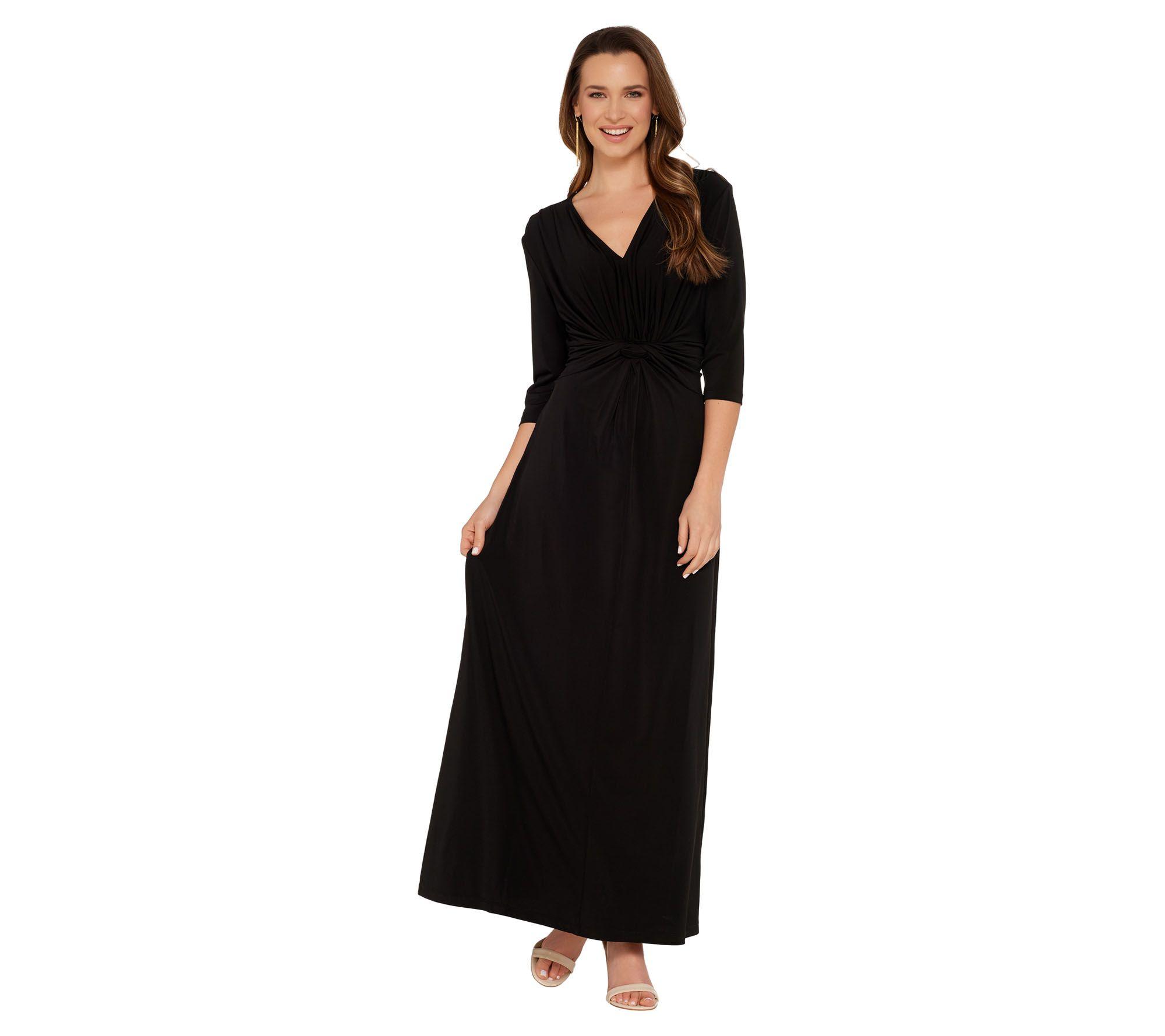 7af5948e63a2f G.I.L.I. Petite 3/4 Sleeve Twist Front Maxi Dress - Page 1 — QVC.com