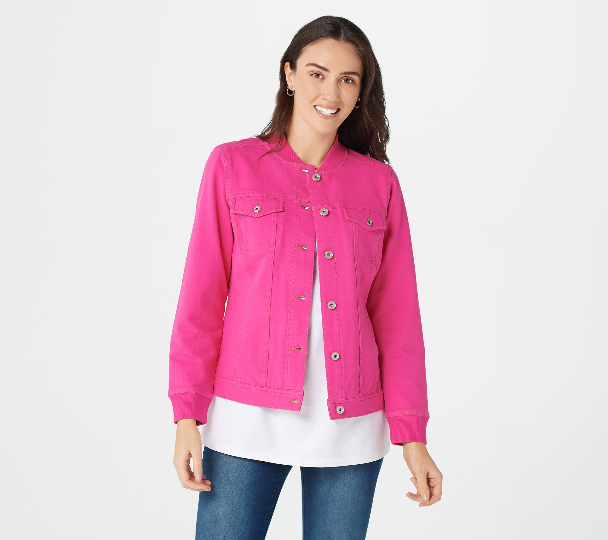 new product 021a7 2b8f9 Denim & Co. Comfy Knit Button Front Jean Jacket with Rib Trim — QVC.com