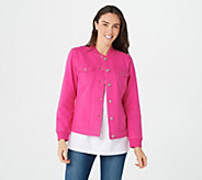 Denim & Co. Comfy Knit Button Front Jean Jacket with Rib Trim - A303110