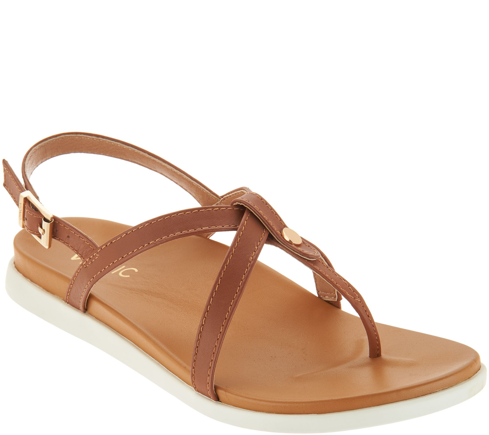 6dcb56f5cec Vionic Leather Thong Back-Strap Sandals - Veranda - Page 1 — QVC.com