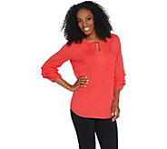 Isaac Mizrahi Live! Swiss Dot Blouse with Ruffle Sleeves - A308010