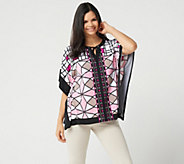 Susan Graver Printed Liquid Knit Scarf Top with Ties - A349010