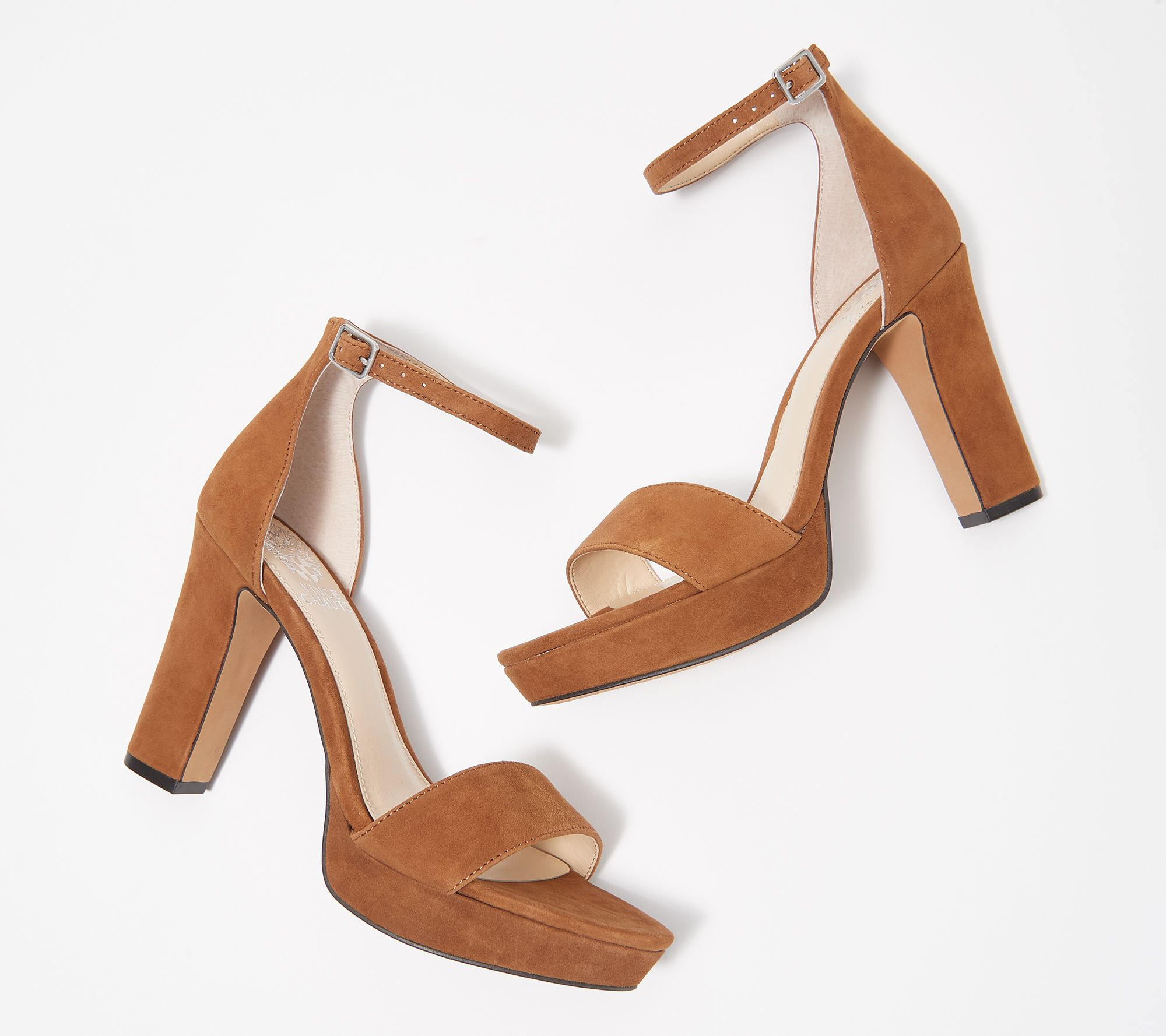 12e311303a7a Vince Camuto Suede Two-Piece Platform Heeled Sandals - Sathina — QVC.com