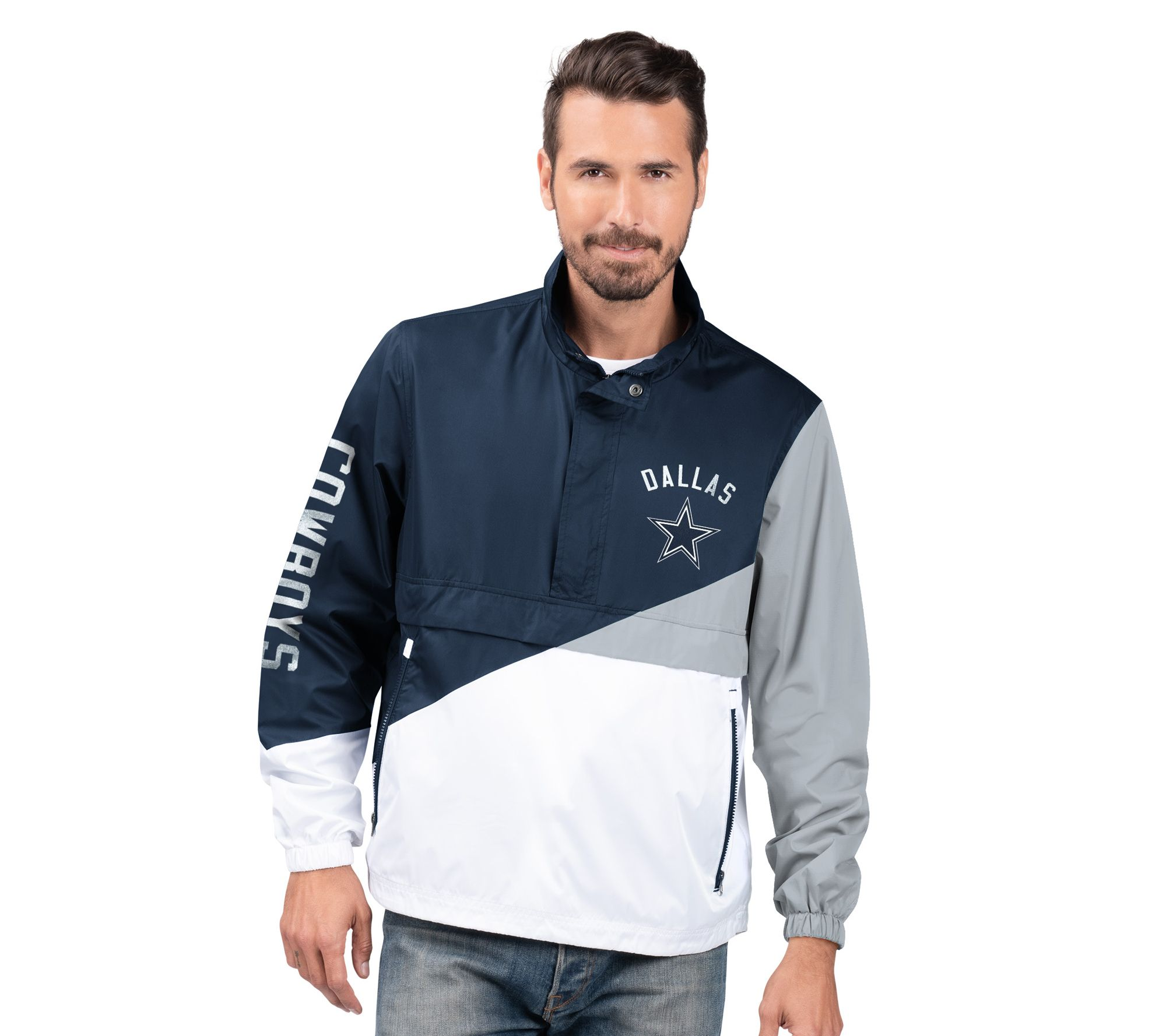 reputable site ef4f2 a369f NFL Dallas Men's Lightweight Pull-Over Jacket — QVC.com