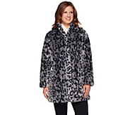 Dennis Basso Platinum Collection Animal Print A-Line Coat - A271111