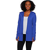 cee bee CHERYL BURKE Open Front French Terry Jacket with Hood - A272211