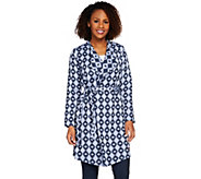 Isaac Mizrahi Live! TRUE DENIM Draped Front Jacquard Jacket - A274611