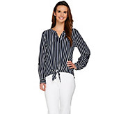 Susan Graver Striped Stretch Woven Split Neck Shirt w/ Tie Front - A275211