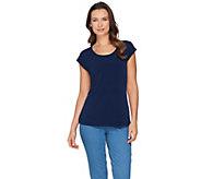 Susan Graver Modern Essentials Liquid Knit Cap Sleeve Top - A286711