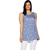 LOGO Layers by Lori Goldstein Printed Knit Tank with Curved Hem - A290211