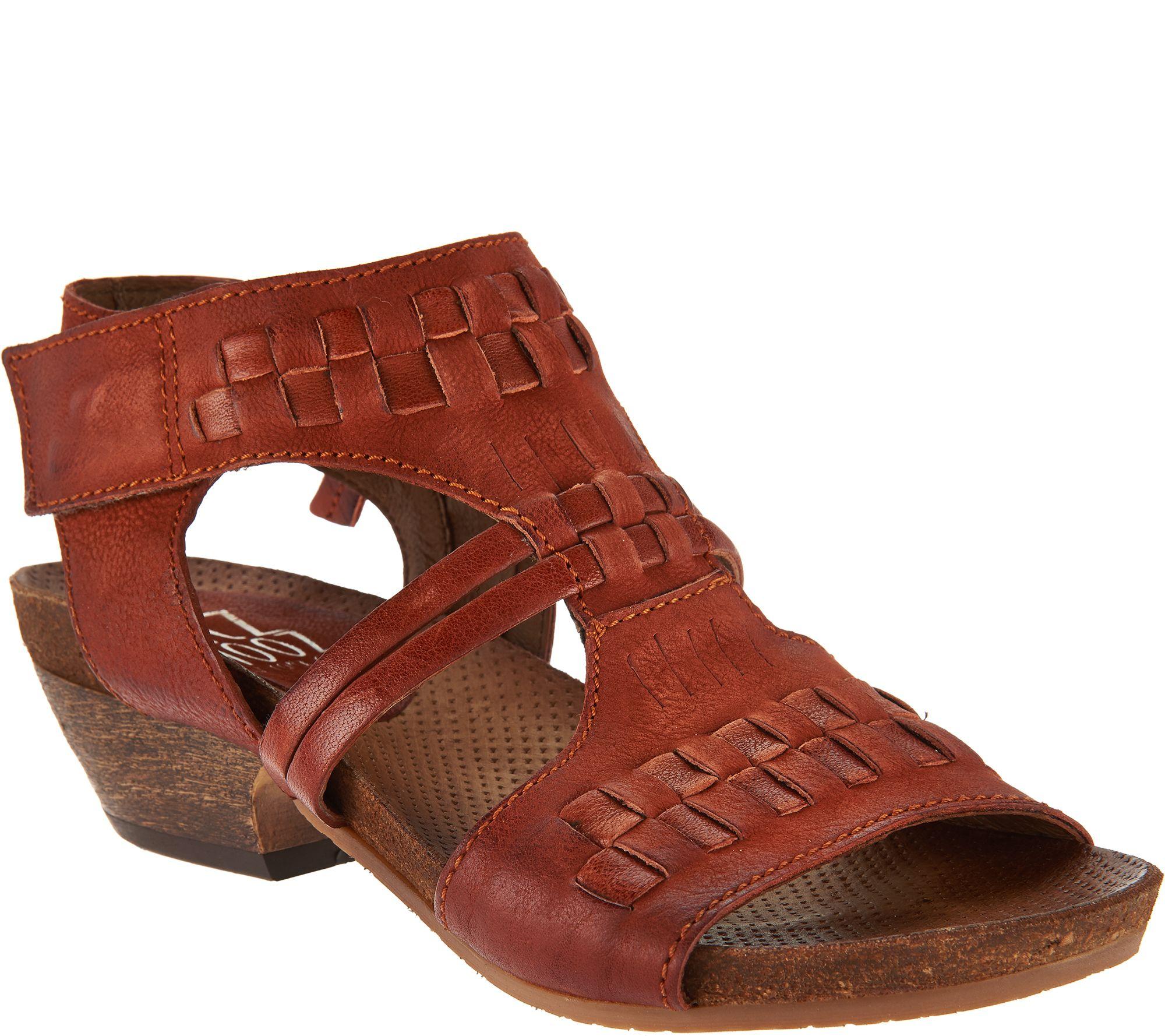f3847bbec730 Miz Mooz Leather Woven Detail Sandals - Calico - Page 1 — QVC.com