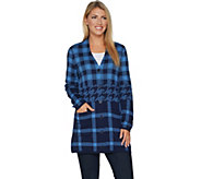 Isaac Mizrahi Live! Engineered Plaid Button Front Cardigan - A295811