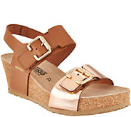 MEPHISTO Leather Double Strap Wedges - Lissandra - A298811