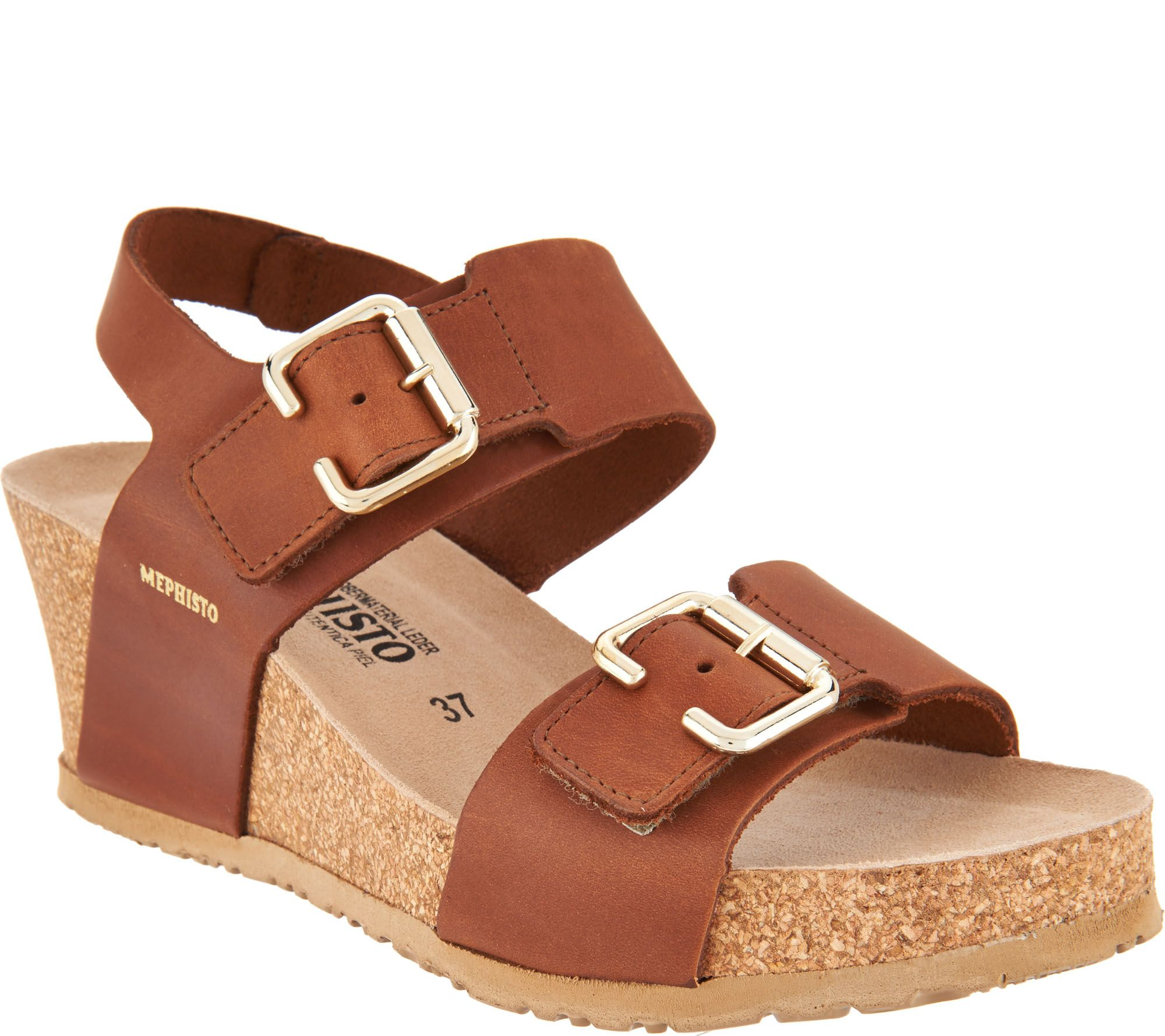 fast delivery cheap online free shipping best sale MEPHISTO Leather Double Strap Wedges - Lissandra cheap price from china v5fZXXoFu
