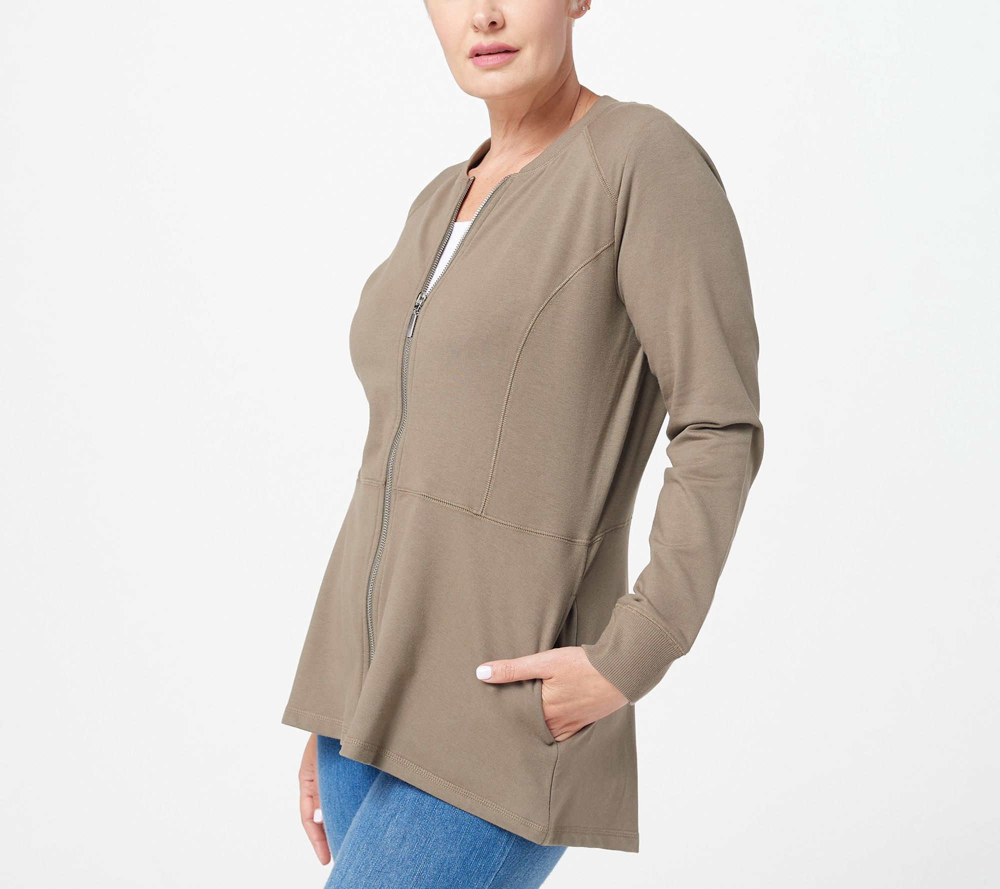a595aebea6 Denim   Co. French Terry Zip Front Hi-Low Hem Knit Jacket - Page 1 — QVC.com