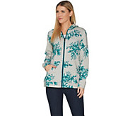 Denim & Co. Active Floral Printed Grey Heather Knit Jacket - A300811