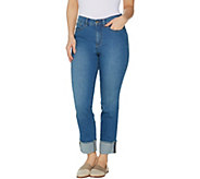 Studio by Denim & Co. Petite Classic Denim Cuffed Ankle Jeans - Indigo - A305411