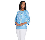 Bob Mackies Placed Print Knit Pullover Top - A305611
