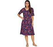 Denim & Co. V-Neckline Fit & Flare Elbow-Sleeve Printed Dress - A308811