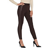 H by Halston Petite Ponte Leggings with Faux Leather Details - A311511