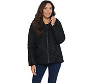 Dennis Basso Water Resistant Lace Puffer Jacket with Hood - A343911