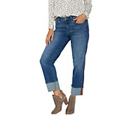Vince Camuto Straight Leg Cuffed Jean with Red Piping Detail - A347511