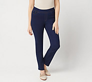 Denim & Co. Petite Soft Stretch Pull-On Full Length Slim Leg Jeans - A349211