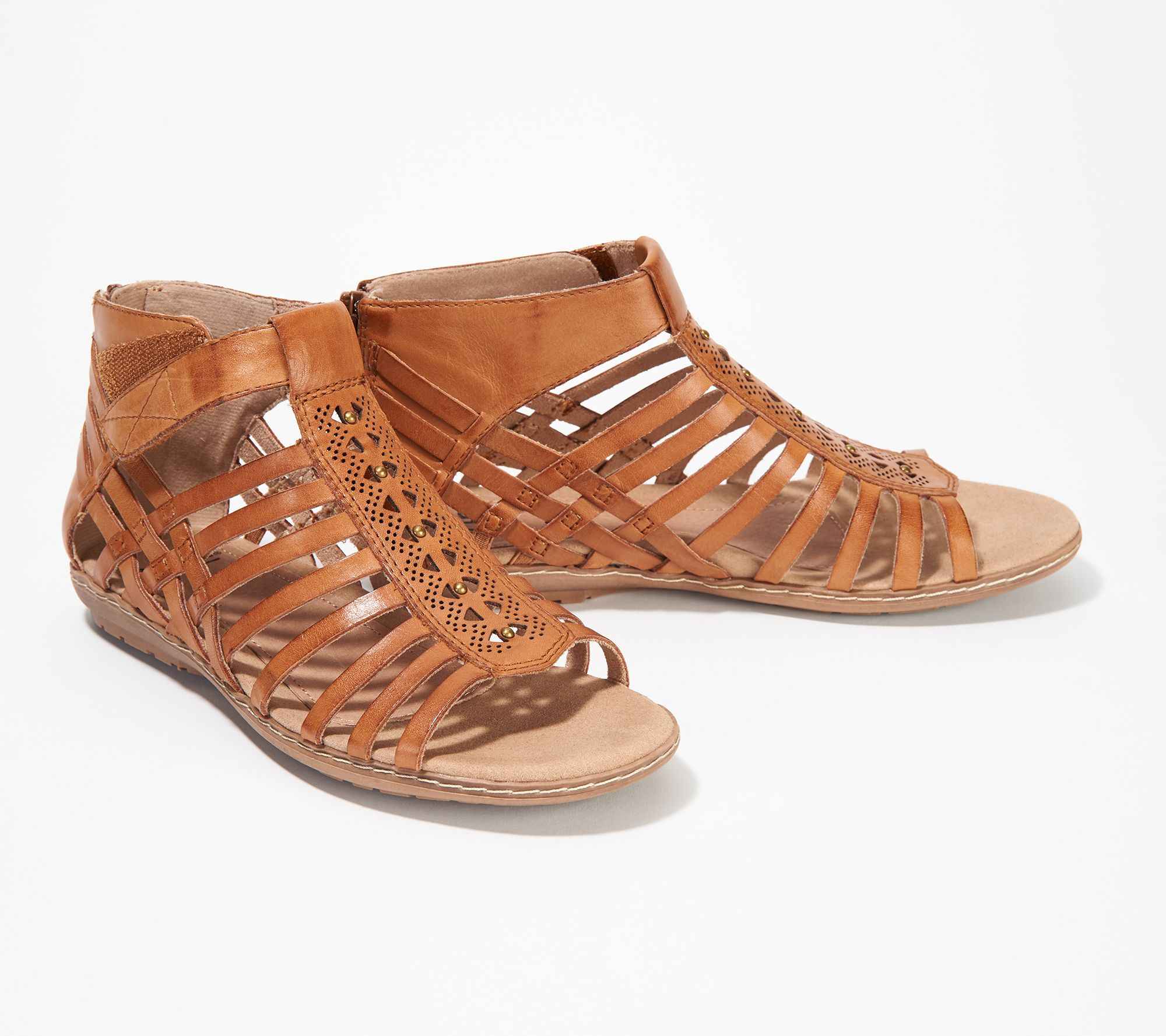 0f2b22d2f Earth Leather Gladiator Sandals - Camellia Marconi - Page 1 — QVC.com