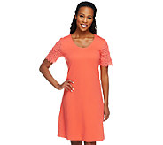 Liz Claiborne New York Regular Lace Sleeve T-Shirt Dress - A253412