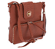 Isaac Mizrahi Live! Bridgehampton Leather Snake Crossbody Bag - A253912