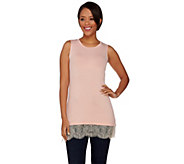 LOGO Layers by Lori Goldstein Knit Tank with Scalloped Lace Trim - A274112