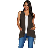 LOGO Lounge by Lori Goldstein French Terry Vest w/ Printed Chiffon Back - A276612