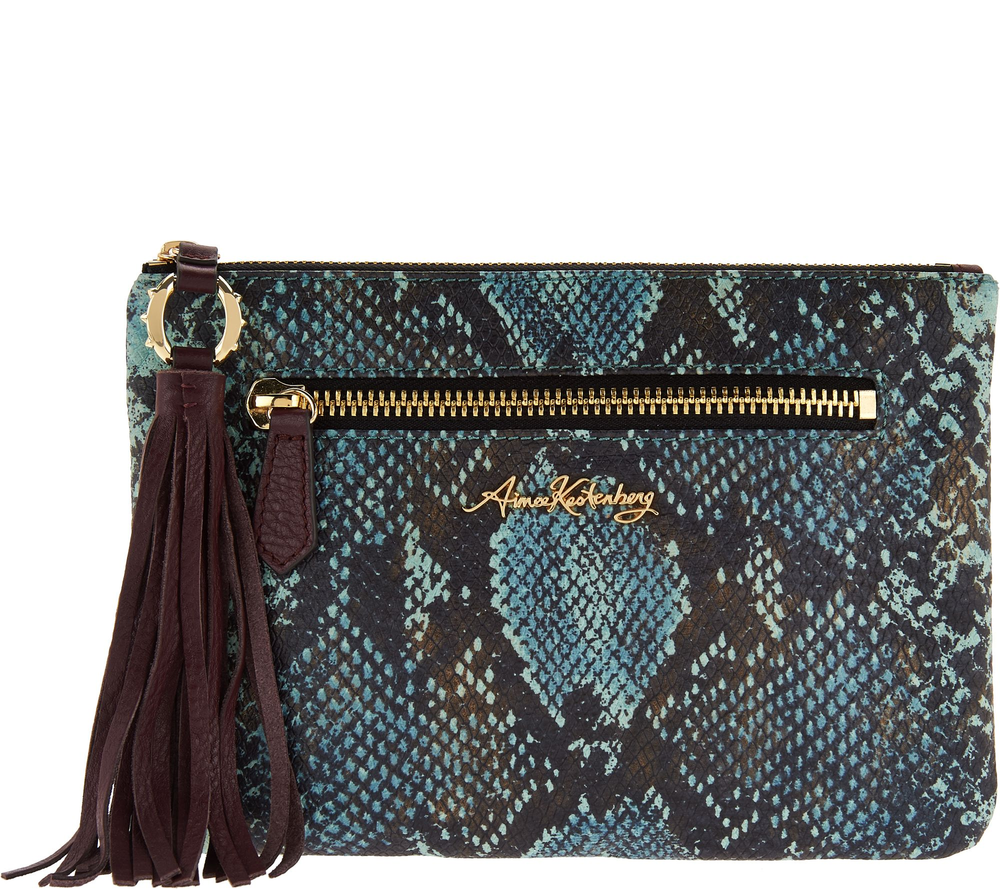 Aimee Kestenberg Rfid Leather Pouch With Tassel Florence Page 1 Qvc