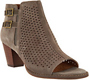 Vionic Orthotic Suede Peep Toe Ankle Boots - Chryssa - A286612