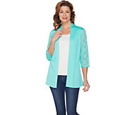 Denim & Co. 3/4 Lace Sleeve Cardigan with Lace and Peplum Back - A288312