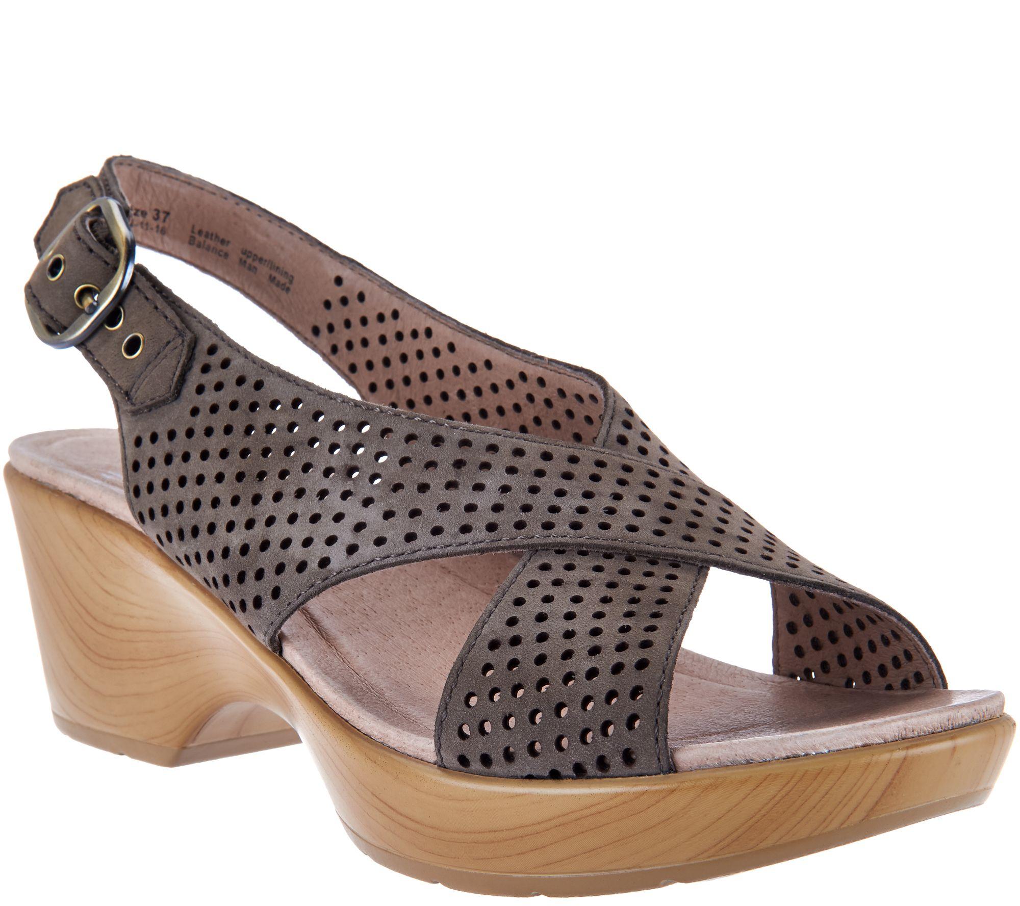 668cd242b98f Dansko Nubuck Leather Perforated Sandals - Jacinda - Page 1 — QVC.com