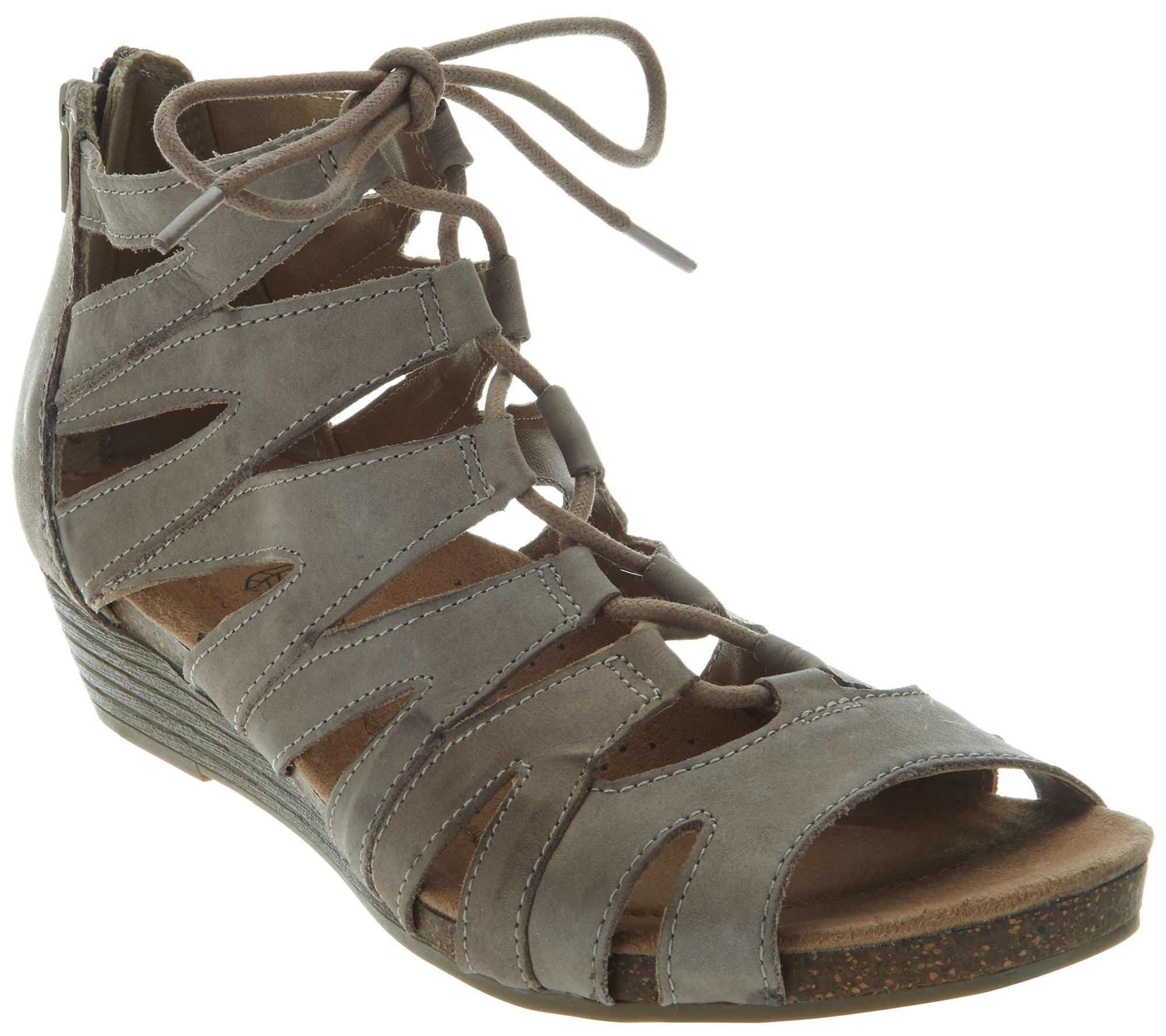 839cbf20364 Earth Origins Leather Lace-up Wedges - Harley - Page 1 — QVC.com