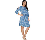 Isaac Mizrahi Live! TRUE DENIM Floral Printed Denim Dress - A303212