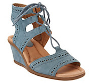 Earth Leather Lace-up Peep-Toe Wedge Sandals - Daffodil - A304212