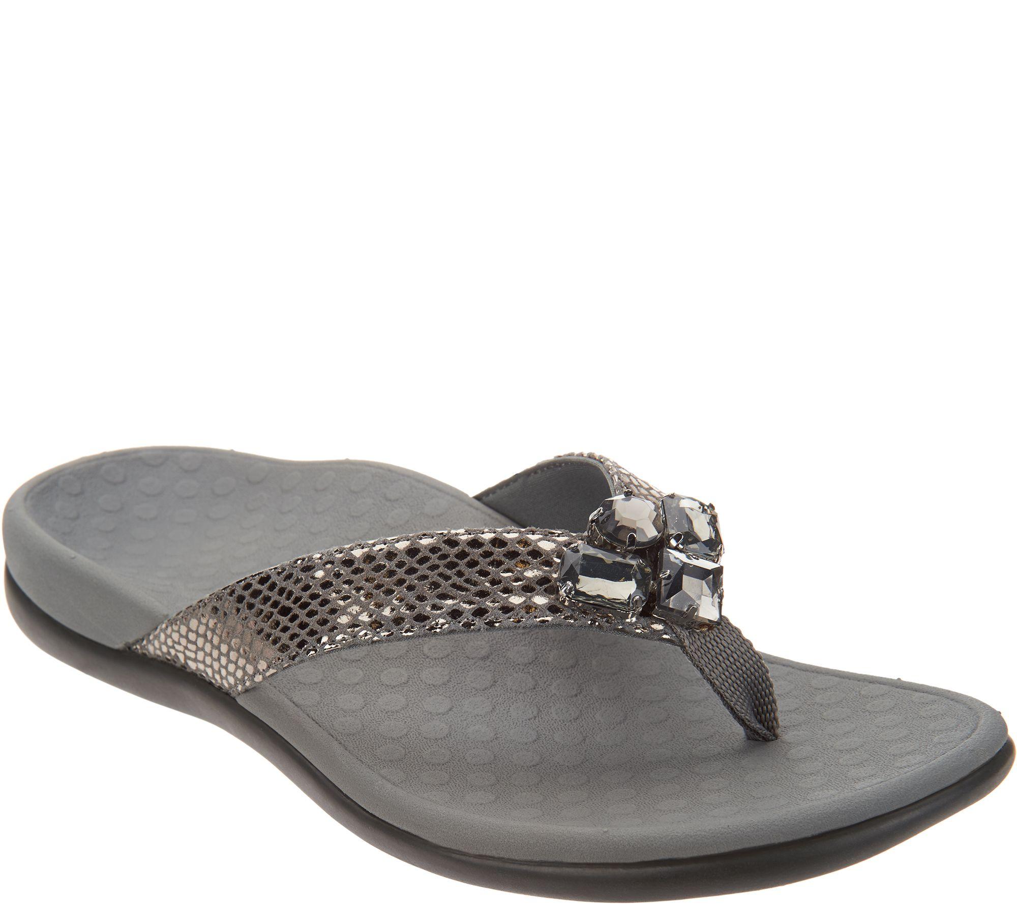cd25746f2c38 Vionic Embellished Leather Thong Sandals - Tide Jewel - Page 1 — QVC.com