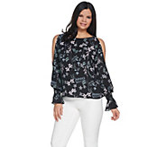 Vince Camuto Flare Cuff Cold Shoulder Botanical Floral Blouse - A306712