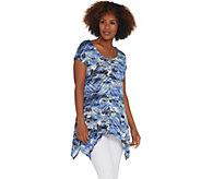 Attitudes by Renee Como Jersey Printed Handkerchief Hem Tunic - A308812
