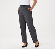 Susan Graver Petite Printed Liquid Knit Pull-On Pants - A310112