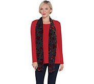 Susan Graver Liquid Knit Top with Burnout Velvet Scarf - A345012